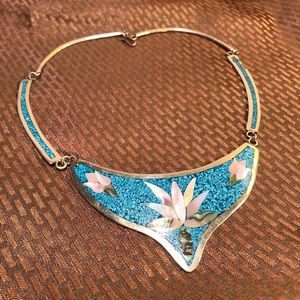 Turquoise Inlay Alpaca Silver Flower Necklace